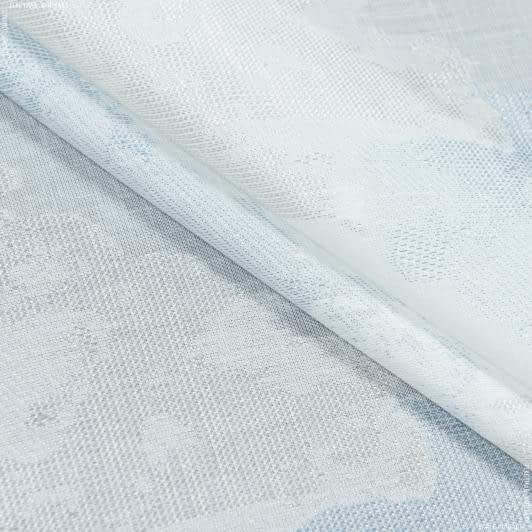 Ткани для тюли - Тюль с утяжелителем росес   диагональ / roses   серо-голубой