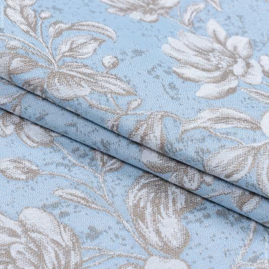 Тканини портьєрні тканини - Декоративна тканина адіра квіти/блакитний
