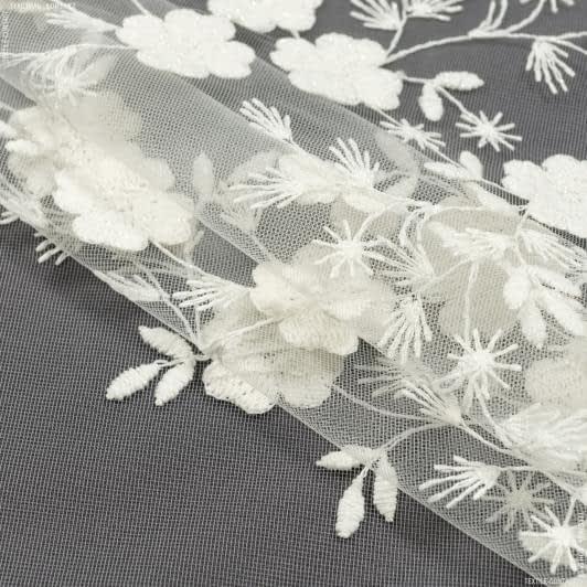 Ткани гардинные ткани - Тюль вышивка  сакура цветы /молочный блеск