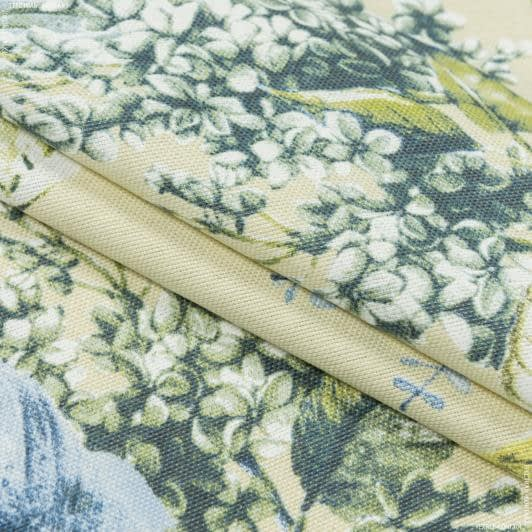 Тканини портьєрні тканини - Декоративная ткань лонета панама ідалія квіти/idalia синій