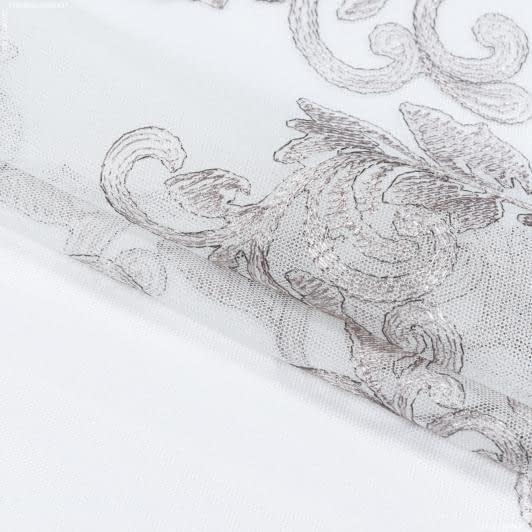 Ткани гардинные ткани - ТЮЛЬ ВЫШИВКА  АНГЕЛИНА /СВ.СЕРЫЙ   (Фестон)