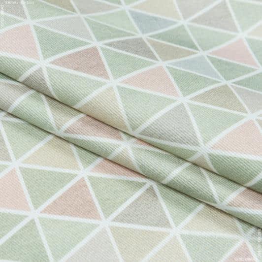 Ткани портьерные ткани - Декоративная ткань лия треугольник св.зеленый, беж,зеленый