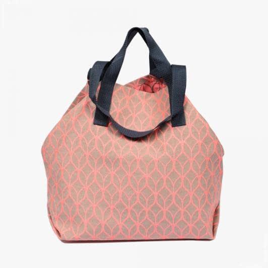 Тканини сумка шопер - Сумка шопер дайніс  /лист/беж. яскраво-рожевий   50х50 см