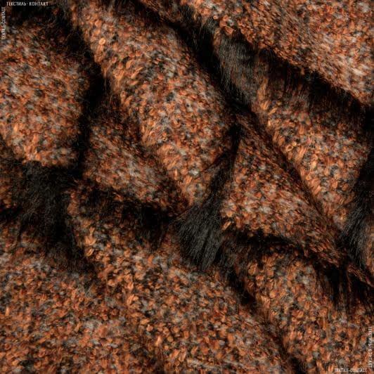 Ткани для верхней одежды - Пальтовая  клетка venus  рыжий-черный
