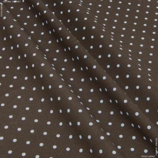 Тканини для слінгу - Декор севілла горох білий фон  коричневий