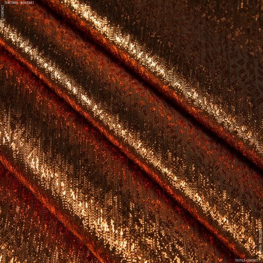 Ткани для платьев - Парча жаккард медь