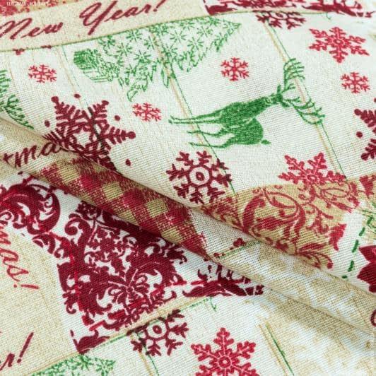 Ткани для декоративных подушек - Декоративная новогодняя ткань Коллаж новогодний  фон св.беж (аналог 143271)