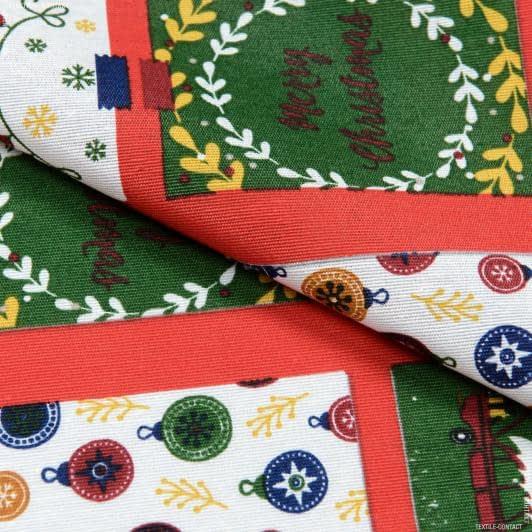 Ткани для декоративных подушек - Декоративная новогодняя ткань Лонета / Открытки, фон красный