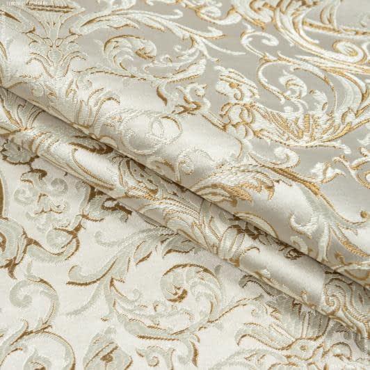 Ткани портьерные ткани - Портьерная ткань  нелли вензель амфора фон крем-брюле