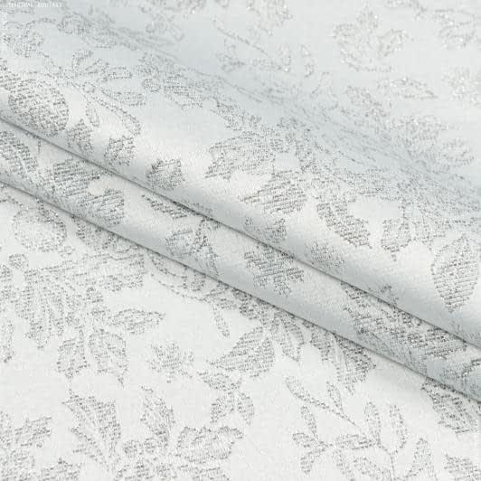 Тканини для декоративних подушок - Декоративна новорічна тканина люрекс гірлянда срібло