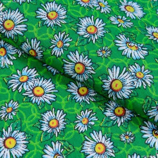 Ткани для сорочек и пижам - Бязь набивная халатная ромашки зеленый
