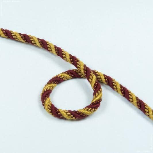 Ткани фурнитура для декора - Шнур Базель, бордо/золото