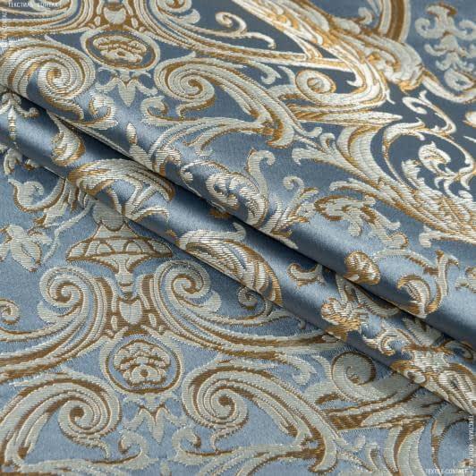 Ткани портьерные ткани - Портьерная ткань  нелли вензель амфора фон стально-голубой