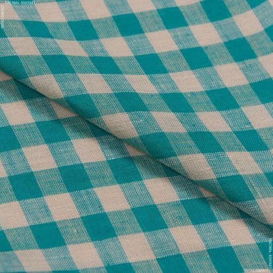 Тканини для суконь - Льон  alinedes смарагдовий/бежевий