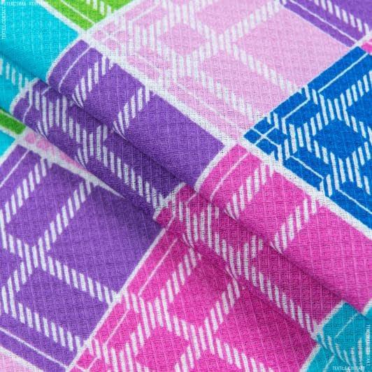 Ткани для полотенец - Ткань полотенечная вафельная набивная клетка