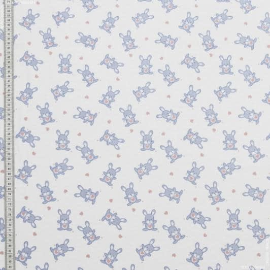 Ткани для детской одежды - Фланель белоземельная детская зайцы