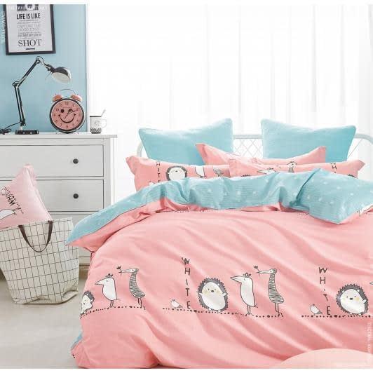 Ткани комплект постельного белья - Кпб сатиновый полуторный ежик и друзья