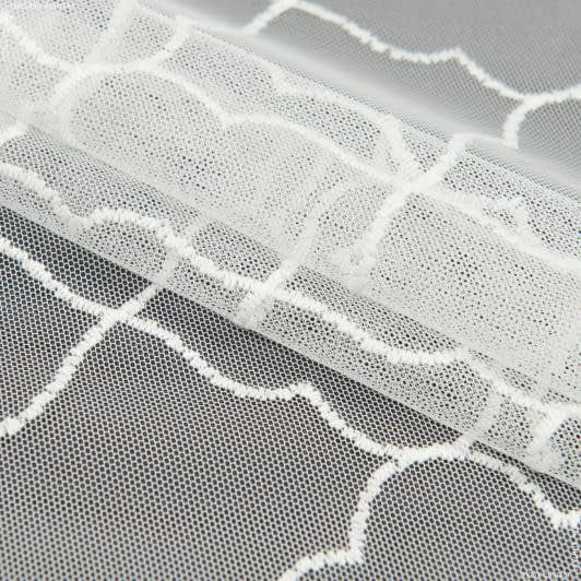 Ткани гардинные ткани - Тюль  сетка вышивка кимми бело-молочный