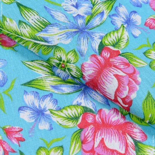 Ткани для сорочек и пижам - Бязь набивная халатная цветы