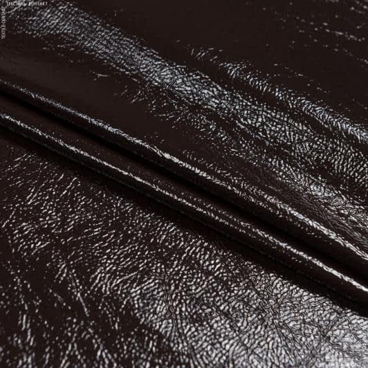 Тканини для верхнього одягу - Штучна шкіра лакова темно-коричневий
