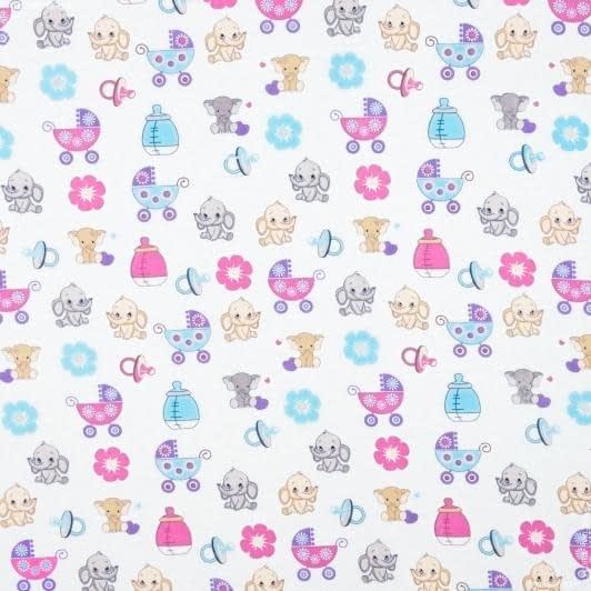 Тканини для дитячого одягу - Фланель білоземельна слоненя