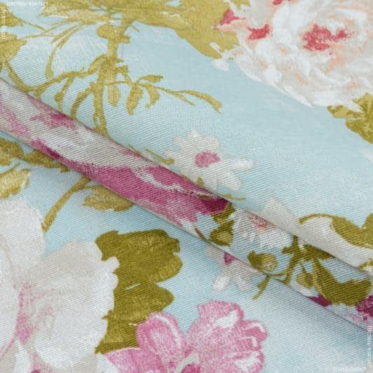 Ткани портьерные ткани - Декоративная ткань  лонета   Флорал цветы/ FLORAL фон голубой