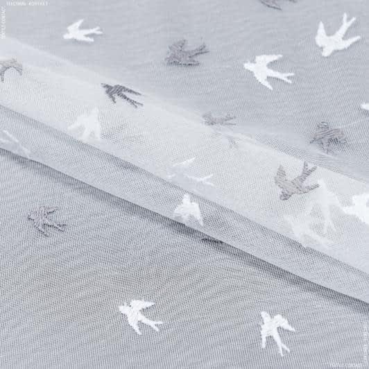 Тканини для тюлі - Тюль мікро сітка вишивка ластівка білий сірий