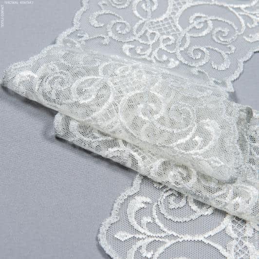 Тканини для печворку - Декоративне мереживо лівія / молочний, срібло 16 см
