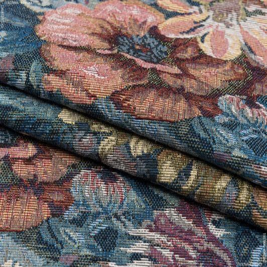 Тканини для декоративних подушок - Гобелен жоржини тон синій