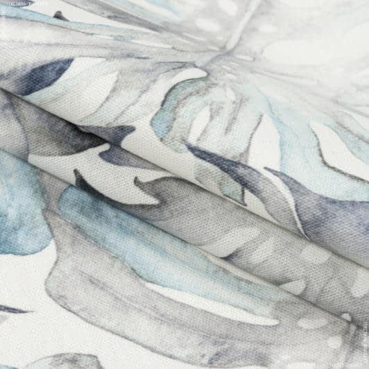 Тканини портьєрні тканини - Декоративна тканина самарканда/samarcanda монстера сіро-блакитний