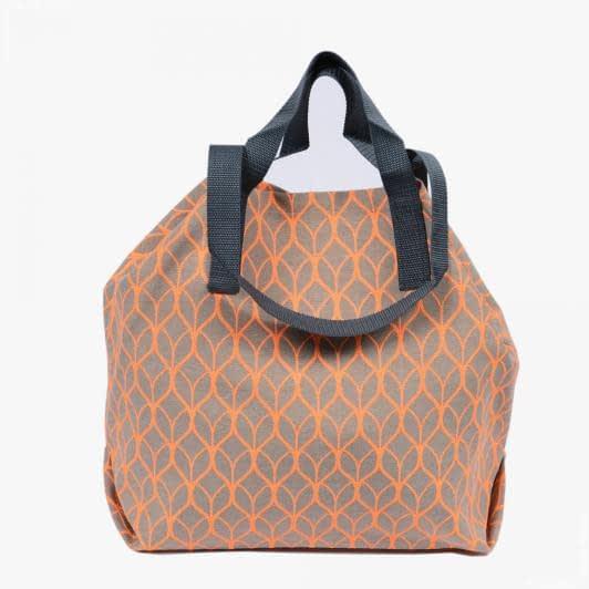 Ткани сумка шоппер - Сумка шоппер дайнис /лист/беж.ярко оранжевый 50х50 см