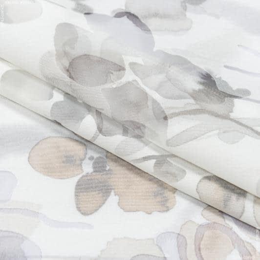 Ткани для тюли - Тюль с утяжелителем азарина  выжиг фон молочный / серый