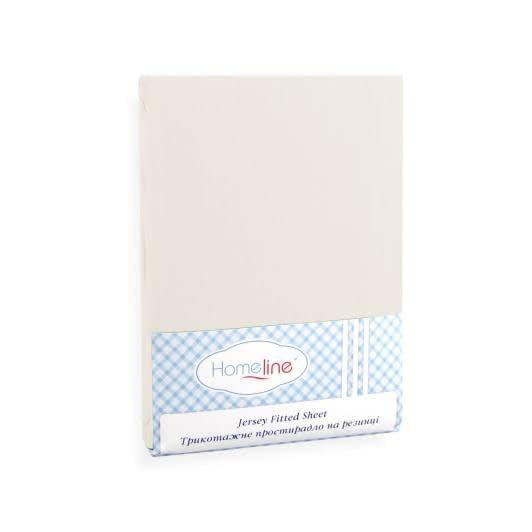 Ткани простыни - Простынь трикотажная на резинке  бежевая  100х200 см