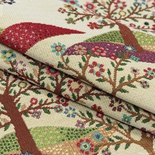 Тканини портьєрні тканини - Жаккард вітал дерево/ vital  фон св.беж
