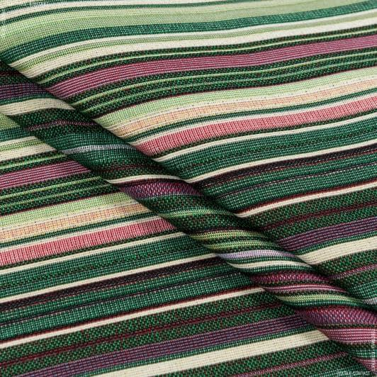 Ткани для декоративных подушек - Декор-гобелен  полоса расол/rasol  зеленый фрез беж