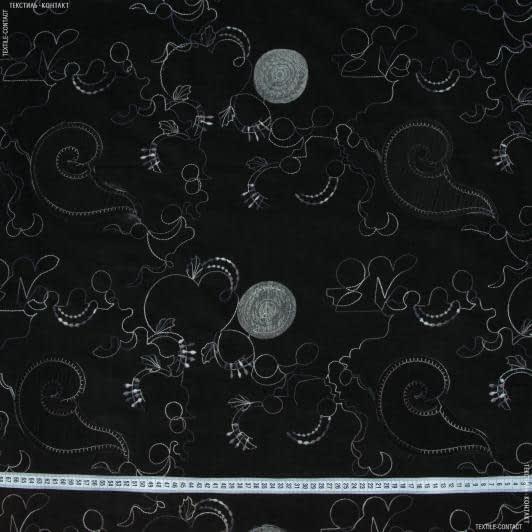 Ткани для платьев - Вельвет вышитый с аппликацией черный