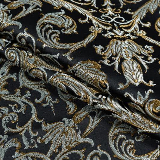 Тканини портьєрні тканини - Портьєрна тканина нелі вензель амфора тон чорний