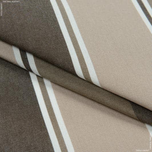 Ткани портьерные ткани - Дралон полоса  / беж  ,  коричневый, табак  FRBS1