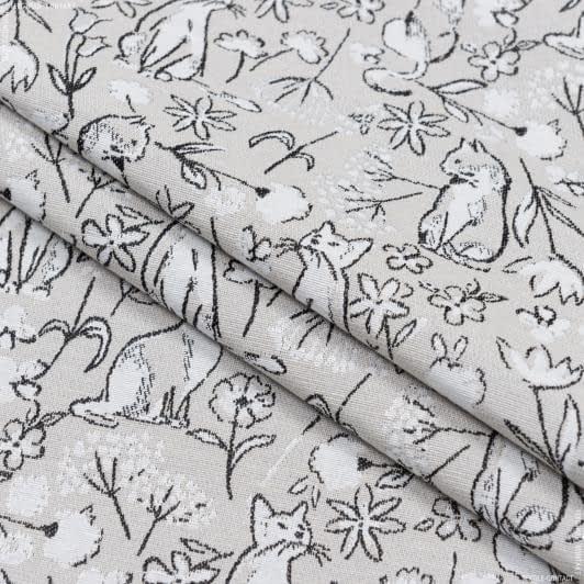 Тканини портьєрні тканини - Жакард/odin piedra / котики  беж