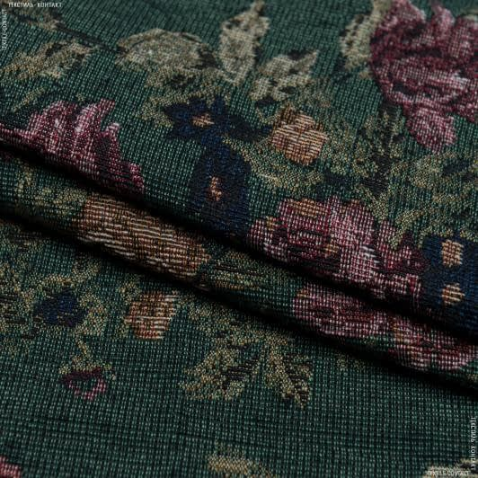 Ткани для декоративных подушек - Гобелен розы гамильтон фон зеленый