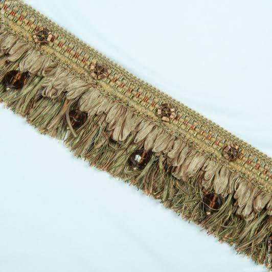 Тканини фурнітура для декора - Бахрома Ексклюзив намистина, сливовий 10см