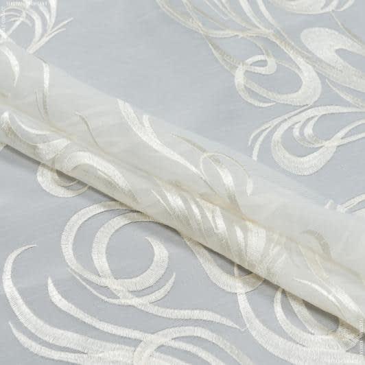 Тканини для тюлі - Тюль з обважнювачем агаста молочний купон/ вишивка крем