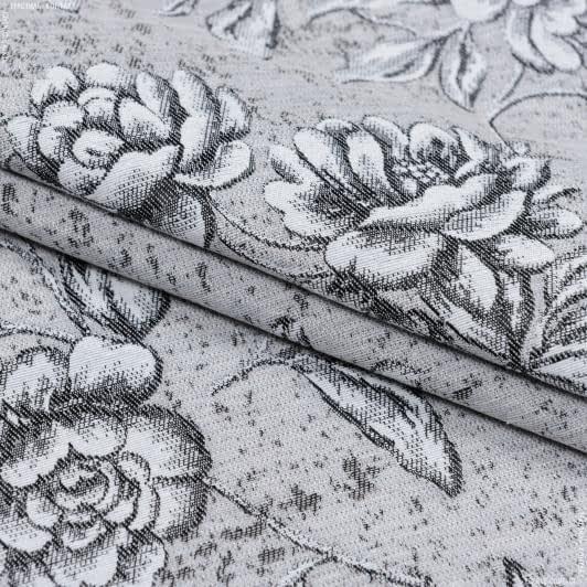 Тканини портьєрні тканини - Декоративна тканина адіра квіти/ сірий