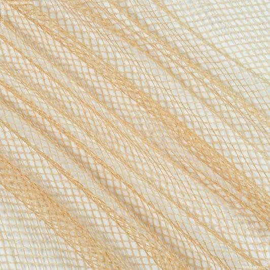Ткани для драпировки стен и потолков - Тюль сетка  элиза/ охра утяж
