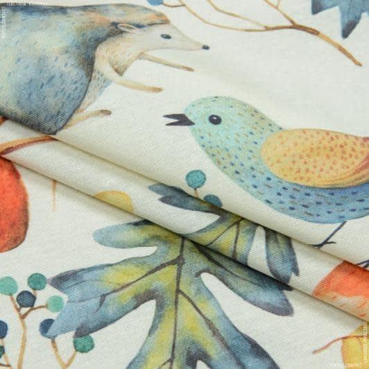 Тканини портьєрні тканини - Декоративна тканина лонета ліс/ тон молочний