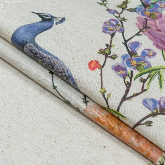 Ткани для скатертей - Ткань с акриловой пропиткой павлины фон натуральный