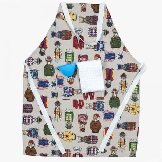 Ткани текстиль для кухни - Комплект кухонный: фартук ,полотенце, прихватка/Фокс , мультиколор