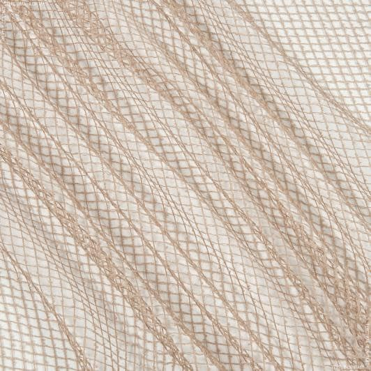Тканини для драпірування стін і стель - Тюль сітка еліза/ беж-рожевий
