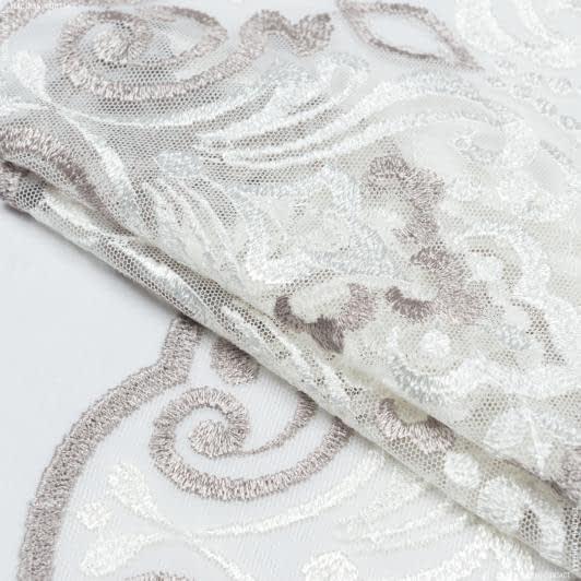 Тканини для печворку - Декоративне мереживо вазарі/ молочний- сірий 22 см