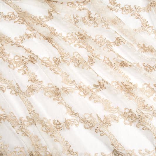 Ткани гардинные ткани - Органза  с утяжелителем  вензель креш